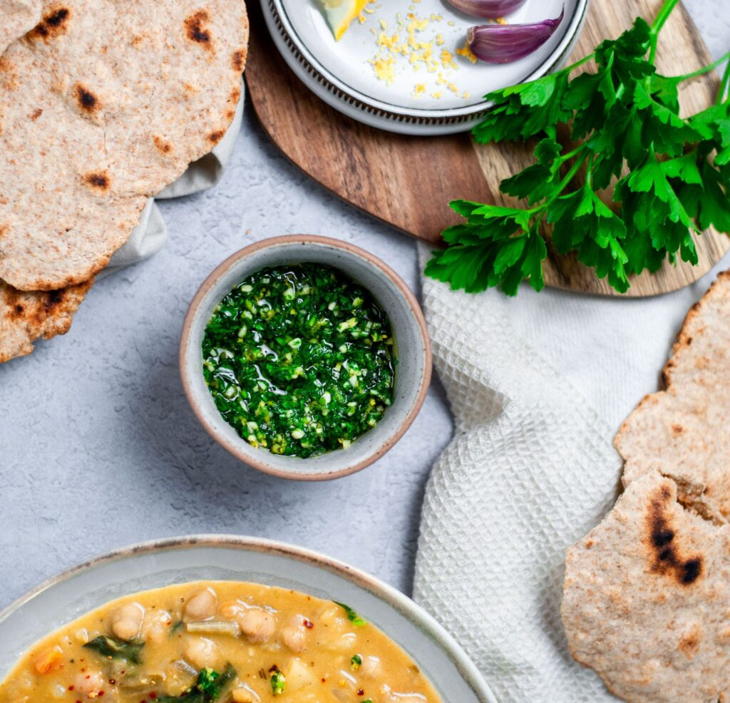 Gremolata sauce with chickpea stew